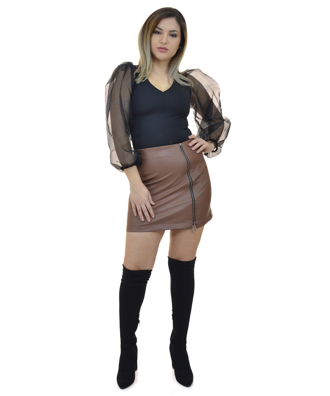 Φούστα Δερματίνη με Φερμουάρ στο Πλάι