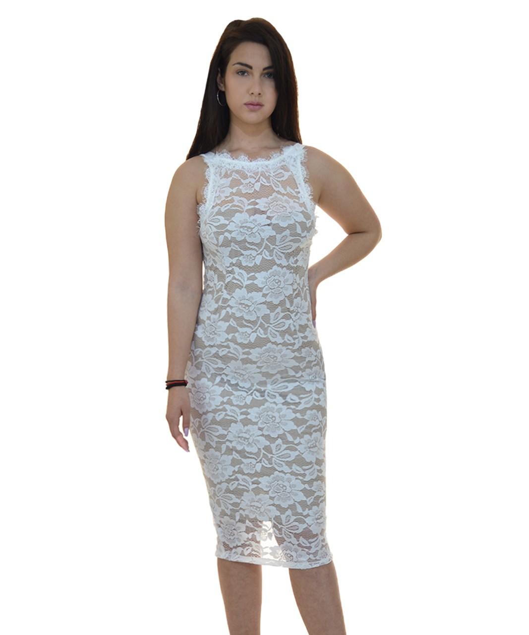 Φόρεμα Μίντι Δαντέλα Εξώπλατο